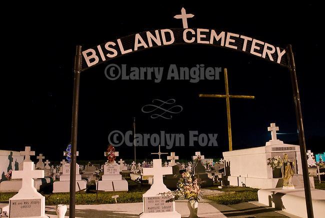 Bisland Cemetery at night along the Bayou Terrebonne, Louisiana.
