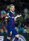 4th November 2017, Camp Nou, Barcelona, Spain; La Liga football, Barcelona versus Sevilla; Ivan Rakitic of FC Barcelona protests to referee as the decision goes against him