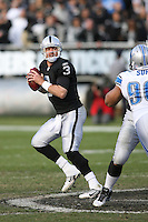 December 18, 2011 Oakland, CA: Oakland Raiders quarterback Carson Palmer #3 during an NFL game played between the Oakland Raiders and the Detroit Lions at O.co Coliseum. The Lions defeated the Raiders 28-27.