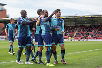 Myles Weston of Wycombe Wanderers celebrates his goal with teammates during the Sky Bet League 2 match between Leyton Orient and Wycombe Wanderers at the Matchroom Stadium, London, England on 1 April 2017. Photo by Andy Rowland.