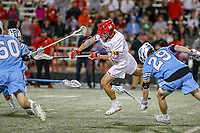 College Park, MD - April 27, 2019: Maryland Terrapins midfielder Bubba Fairman (2) scores a goal during the game between John Hopkins and Maryland at  Capital One Field at Maryland Stadium in College Park, MD.  (Photo by Elliott Brown/Media Images International)