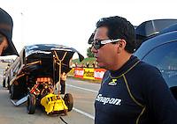 Jul, 8, 2011; Joliet, IL, USA: NHRA funny car driver Cruz Pedregon during qualifying for the Route 66 Nationals at Route 66 Raceway. Mandatory Credit: Mark J. Rebilas-