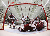 Doug Kublin (UMass - 18), Jimmy Hayes (BC - 10), Paul Dainton (UMass - 31), James Marcou (UMass - 19) - The Boston College Eagles defeated the University of Massachusetts-Amherst Minutemen 5-2 on Saturday, March 13, 2010, at Conte Forum in Chestnut Hill, Massachusetts, to sweep their Hockey East Quarterfinals matchup.