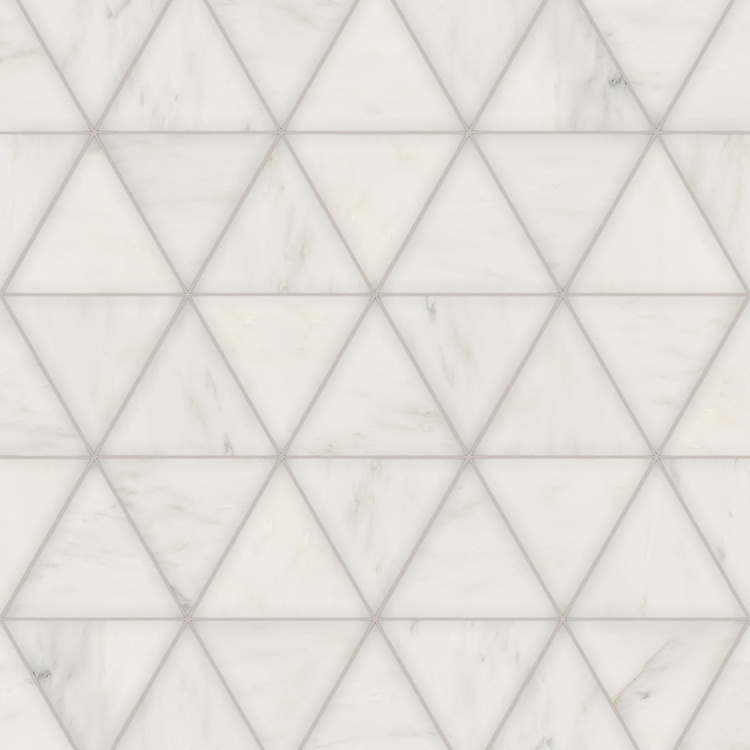 Diamont Grand, a hand-cut stone mosaic, shown in polished Calacatta Radiance, is part of the Semplice® collection for New Ravenna.