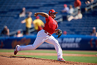 Philadelphia Phillies relief pitcher Victor Arano (64) delivers a pitch during a Grapefruit League Spring Training game against the Baltimore Orioles on February 28, 2019 at Spectrum Field in Clearwater, Florida.  Orioles tied the Phillies 5-5.  (Mike Janes/Four Seam Images)