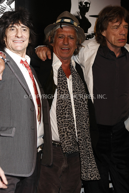 WWW.ACEPIXS.COM . . . . .  ....March 30, 2008. New York City.....Musicians Ronnie Wood, Keith Richards, and Mick Jagger attend the 'Shine a Light' premiere at the Ziegfeld Theater.......Please byline: AJ Sokalner - ACEPIXS.COM.... *** ***..Ace Pictures, Inc:  ..Philip Vaughan (646) 769 0430..e-mail: info@acepixs.com..web: http://www.acepixs.com