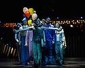 London, UK. 04.01.2014. Cirque du Soleil present QUIDAM at the Royal Albert Hall. Artists are: Norihisa Taguchi, Kata Banhegyi and House Troupe. © Jane Hobson.