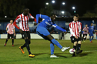 Brian Moses of Redbridge with a shot on goal during Redbridge vs Clapton, Essex Senior League Football at Oakside Stadium on 14th November 2017