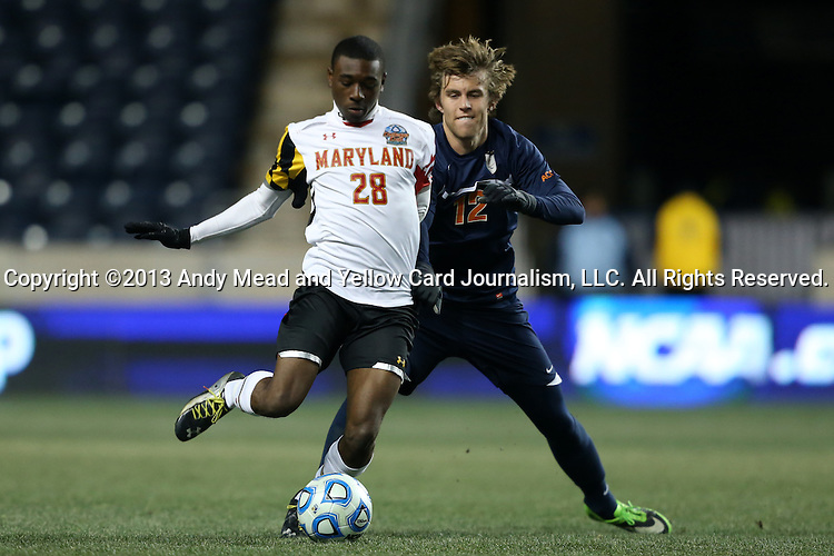 13 December 2013: Maryland's Chris Odoi-Atsem (28) and Virginia's Riggs Lennon (12). The University of Maryland Terripans played the University of Virginia Cavaliers at PPL Park in Chester, Pennsylvania in a 2013 NCAA Division I Men's College Cup semifinal match. Maryland won the game 2-1.