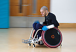 Paralympian wheelchair rugby player Mike Kerr during a training session at the Palace of Art in Govan, Glasgow. Sprint training in his new wheelchair.