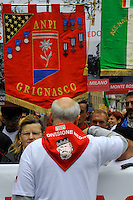 Milano, 25 Aprile 2015, Manifestazione per il 70&deg; anniversario della Liberazione dal nazifascismo. Gonfaloni delle associazioni partigiane.<br /> Milan, April 25, 2015, Demonstration for the 70th anniversary of liberation from fascism. Banners of partisan associations.
