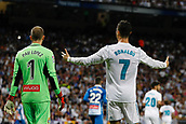 1st October 2017, Santiago Bernabeu, Madrid, Spain; La Liga football, Real Madrid versus Espanyol; Cristiano Ronaldo dos Santos (7) Real Madrid and Pau Lopez (1) Espanyol