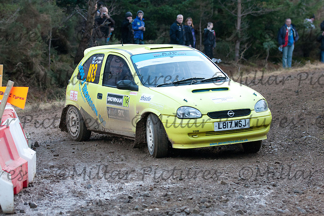 Junction 12 on SS5 of Snowman Rally 2011 - Alex Pirie / Graham Law Vauxhall Corsa