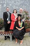 23/10/2015  Pictured at the recent Mary Immaculate College conferring ceremonies were Rachel Smyth, Salthill, Co. Galway, who graduated with a Graduate Diploma in Primary Education, with brother Lorcan and parents Margaret and Ciaran Smyth. 625 students from 20 counties and 3 continents were conferred with academic awards across the College&rsquo;s 27 programmes including the College&rsquo;s 100th PhD award.<br /> Pic: Gareth Williams / Press 22<br /> <br /> Press Release: 23rd October 2015Education is a movement of formation that enables the individual to play their role in transforming society for the common good.100th PhD Graduate Conferred at Mary Immaculate CollegeEducation is a movement of formation that enables the individual to play their role in transforming society for the common good according to Prof. Michael A Hayes, President of Mary Immaculate College, who was speaking at the College&rsquo;s conferring ceremonies today Friday 23rd October. The quality of advanced scholarship at Mary Immaculate College was evident on the day as the 100th PhD graduate was conferred along with close on 650 students from 20 counties and 3 continents all of whom graduated with academic awards across the College&rsquo;s 27 programmes. Congratulating all those graduating the President said &ldquo;These ceremonies mark the high point of the College&rsquo;s year as we acknowledge the achievement of our students. The ceremonies this year are particularly special as we mark the conferring of our 100th PhD Graduate &ndash; this is a very proud achievement for us as a College and I want to congratulate those who have received these doctorates and my colleagues who supervised their work&rdquo;. Not only were students conferred with awards on undergraduate, diploma, graduate diploma and master programmes but this year marked the first graduation of students from the Certificate in General Learning &amp; Personal Development, a programme  for people with intellectual disabilities.&ldquo;Working with students with intellectual disabilities a
