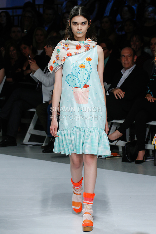 """Model walks runway in an outfit by Caroline Kaufman, for the 115th Annual Pratt Institute 2014 Student Runway; """"Under Construction"""" collection at Center548 in NYC, on May 1, 2014."""