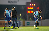 Paris Cowan-Hall of Wycombe Wanderers does his dance as he comes on to replace Garry Thompson of Wycombe Wanderers during the Sky Bet League 2 match between Wycombe Wanderers and Newport County at Adams Park, High Wycombe, England on 2 January 2017. Photo by Andy Rowland.