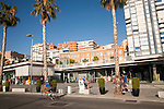 People walking in the newly redeveloped port area of shops and bars Malaga, Spain, Muelle dos, Palmeral de las Sorpresas