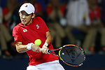 Yuya Ito (JPN) , <br /> AUGUST 20, 2018 - Tennis : <br /> Men's Doubles Round of 32<br /> at Jakabaring Sport Center Tennis Court <br /> during the 2018 Jakarta Palembang Asian Games <br /> in Palembang, Indonesia. <br /> (Photo by Yohei Osada/AFLO SPORT)