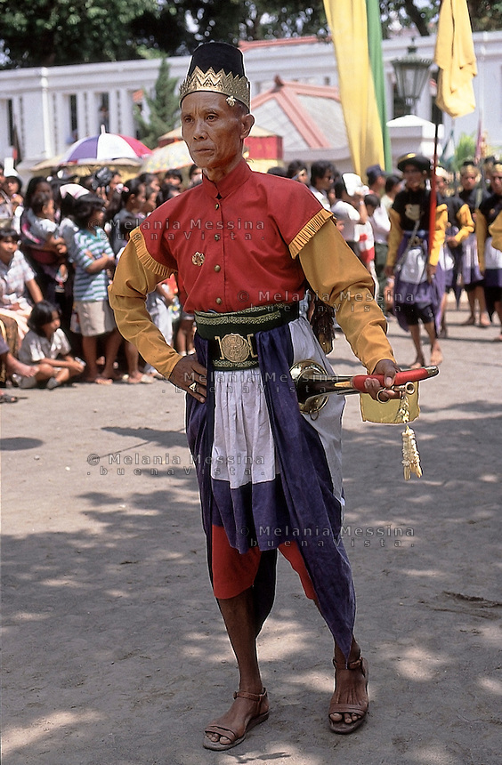 Yogyakarta, Java island, Indonesia:One of the guards of the Sultan during a parade to commemorate the anniversary of the birth of Prophet Muhammad.<br />