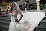 Richards poses for photographs on the altar after the wedding. Olympic gold medalist, Sanya Richards, and New York Giants cornerback, Aaron Ross, wed at the Hyde Park Baptist in Austin, Texas on Friday, February 26, 2010....