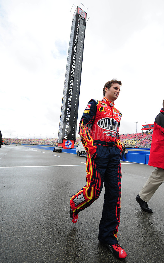 Feb 24, 2008; Fontana, CA, USA; NASCAR Sprint Cup Series driver Jeff Gordon prior to the Auto Club 500 at Auto Club Speedway. Mandatory Credit: Mark J. Rebilas-US PRESSWIRE