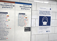 Covid-19 Health notices on Trains, in Stations and Underground reminding of social distancing and other measures due to be enforced on Publ;ic Transport from Monday June 15. Pictures taken on Friday June 12th 2020<br /> <br /> Photo by Keith Mayhew