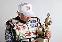 Feb. 22, 2013; Chandler, AZ, USA; NHRA funny car driver John Force poses for a portrait during qualifying for the Arizona Nationals at Firebird International Raceway. Mandatory Credit: Mark J. Rebilas-