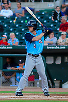 Colorado Springs Sky Sox outfielder Brett Phillips (8) at bat during game two of a Pacific Coast League doubleheader against the Iowa Cubs on August 17, 2017 at Principal Park in Des Moines, Iowa. Iowa defeated Colorado Springs 6-0. (Brad Krause/Four Seam Images)