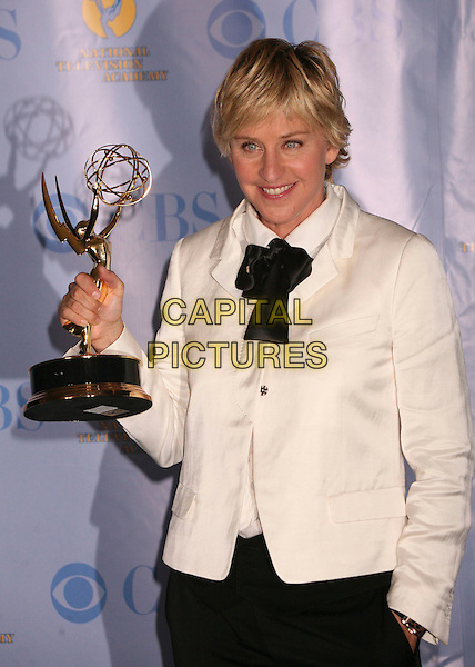 ELLEN DEGENERES.34th Annual Daytime Emmy Awards - Press Room at the Kodak Theatre, Hollywood, California, USA, 15th June 2007..half length winner trophy cream white jacket black trousers tie.CAP/ADM/BP.©Byron Purvis/AdMedia/Capital Pictures.