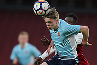 Blackpool U18's Finn Sinclair-Smith holds off Arsenal U18's James Olayinka<br /> <br /> Photographer Andrew Kearns/CameraSport<br /> <br /> Emirates FA Youth Cup Semi- Final Second Leg - Arsenal U18 v Blackpool U18 - Monday 16th April 2018 - Emirates Stadium - London<br />  <br /> World Copyright &copy; 2018 CameraSport. All rights reserved. 43 Linden Ave. Countesthorpe. Leicester. England. LE8 5PG - Tel: +44 (0) 116 277 4147 - admin@camerasport.com - www.camerasport.com