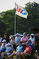 The USGA flag flies above the fans gathered around the green on 18 during round 4 of the 2019 US Women's Open, Charleston Country Club, Charleston, South Carolina,  USA. 6/2/2019.<br /> Picture: Golffile | Ken Murray<br /> <br /> All photo usage must carry mandatory copyright credit (© Golffile | Ken Murray)