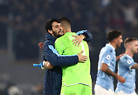 Football, Serie A: S.S. Lazio - Juventus Olympic stadium, Rome, December 7, 2019. <br /> Lazio's goalkeeper Thomas Strakosha (r) celebrates with his teammate Luis Felipe (l) after winning 3-1 the Italian Serie A football match between S.S. Lazio and Juventus at Rome's Olympic stadium, Rome on December 7, 2019.<br /> UPDATE IMAGES PRESS/Isabella Bonotto