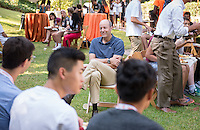 Occidental College's class of 2020 meets with President Jonathan Veitch in the Mitchell Garden as part of Matriculation during Orientation, Aug. 29, 2016. They also had the opportunity to write a wish and tie it to the wishing tree.<br />