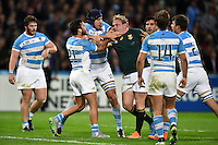 Tempers flare between Martin Landajo of Argentina and Adriaan Strauss of South Africa. Rugby World Cup Bronze Final between South Africa and Argentina on October 30, 2015 at The Stadium, Queen Elizabeth Olympic Park in London, England. Photo by: Patrick Khachfe / Onside Images