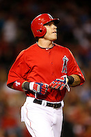 Josh Hamilton #32 of the Los Angeles Angels runs to first base during a game against the Los Angeles Dodgers in both teams final spring training game at Angel Stadium on March 30, 2013 in Anaheim, California. (Larry Goren/Four Seam Images)