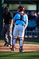 Jimmy Obertop (18) of Westminster Christian Academy in St. Louis, Missouri during the Baseball Factory All-America Pre-Season Tournament, powered by Under Armour, on January 13, 2018 at Sloan Park Complex in Mesa, Arizona.  (Mike Janes/Four Seam Images)