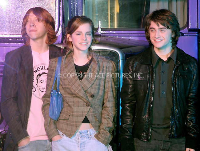 WWW.ACEPIXS.COM . . . . .  ... . . . . US SALES ONLY . . . . .....LONDON, NOVEMBER 18, 2004....Rupert Grint, Emma Watson and Daniel Radcliffe at the Global DVD and VHS launch of the movie Harry Potter and the Prisoner of Azkaban.....Please byline: FAMOUS - ACE PICTURES - F. DUVAL... . . . .  ....Ace Pictures, Inc:  ..Alecsey Boldeskul (646) 267-6913 ..Philip Vaughan (646) 769-0430..e-mail: info@acepixs.com..web: http://www.acepixs.com