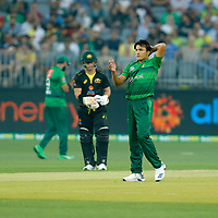 8th November 2019; Optus Stadium, Perth, Western Australia Australia; T20 Cricket, Australia versus Pakistan; Muhammad Musa of Pakistan reacts to his delivery - Editorial Use