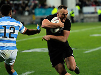 Israel Dagg beats Jeronimo De La Fuenete to score during the Rugby Championship match between the NZ All Blacks and Argentina Pumas at Yarrow Stadium in New Plymouth, New Zealand on Saturday, 9 September 2017. Photo: Dave Lintott / lintottphoto.co.nz