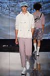"""Model walks runway in an outfit from the Matiere Spring Summer 2018 """"Reflections"""" collection by Henry Choi and Scot Shandalove, at Cadillac House on 330 Hudson Street on July 12, 2017; during New York Fashion Week: Men's Spring Summer 2018."""