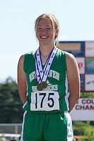 New Haven sophomore Kate Ruediger stands atop thte awards podium after winning the Class 1 javelin with a 126-10 toss at the Missouri Class 1 and 2 State Track and Field Championships in Jefferson City, Saturday, May 21.