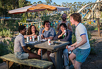 ACTION POINT (2018)<br /> (L-R) Eric Manaka, Conner McVicker, Joshua Hoover, (back row) Chris Pontius, Johnny Knoxville, and Johnny Pemberton <br /> *Filmstill - Editorial Use Only*<br /> CAP/FB<br /> Image supplied by Capital Pictures