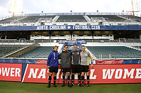 Cary, North Carolina  - Wednesday May 24, 2017: Match officials (from left): Gregory Brigman, Javier Rodriguez, Kevin Broadley, and Benjamin Wooten prior to a regular season National Women's Soccer League (NWSL) match between the North Carolina Courage and the Sky Blue FC at Sahlen's Stadium at WakeMed Soccer Park. The Courage won the game 2-0.