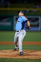 Charlotte Stone Crabs relief pitcher Brandon Koch (10) delivers a pitch during a game against the Clearwater Threshers on April 12, 2016 at Bright House Field in Clearwater, Florida.  Charlotte defeated Clearwater 2-1.  (Mike Janes/Four Seam Images)