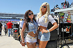 Sprint Cup Series fans pose for pictures during the Nascar Sprint Cup Series practice session at Texas Motor Speedway in Fort Worth,Texas.