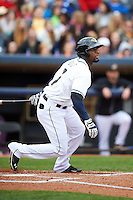 Akron RubberDucks third baseman Yandy Diaz (7) at bat during a game against the New Britain Rock Cats on May 21, 2015 at Canal Park in Akron, Ohio.  Akron defeated New Britain 4-2.  (Mike Janes/Four Seam Images)