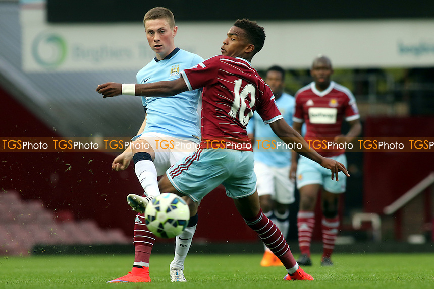 Adam Drury of Manchester City passes the ball upfield - West Ham United Under-21 vs Manchester City Under-21 - Barclays U21 Premier League Football at the Boleyn Ground, Upton Park, London - 24/04/15 - MANDATORY CREDIT: Paul Dennis/TGSPHOTO - Self billing applies where appropriate - contact@tgsphoto.co.uk - NO UNPAID USE