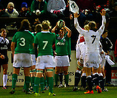 27.02.2015. Ashbourne Rugby Club, Ireland. Womens 6-Nations international. Ireland versus England. Gillian Bourke (Ireland) prepares to throw in to a lineout.
