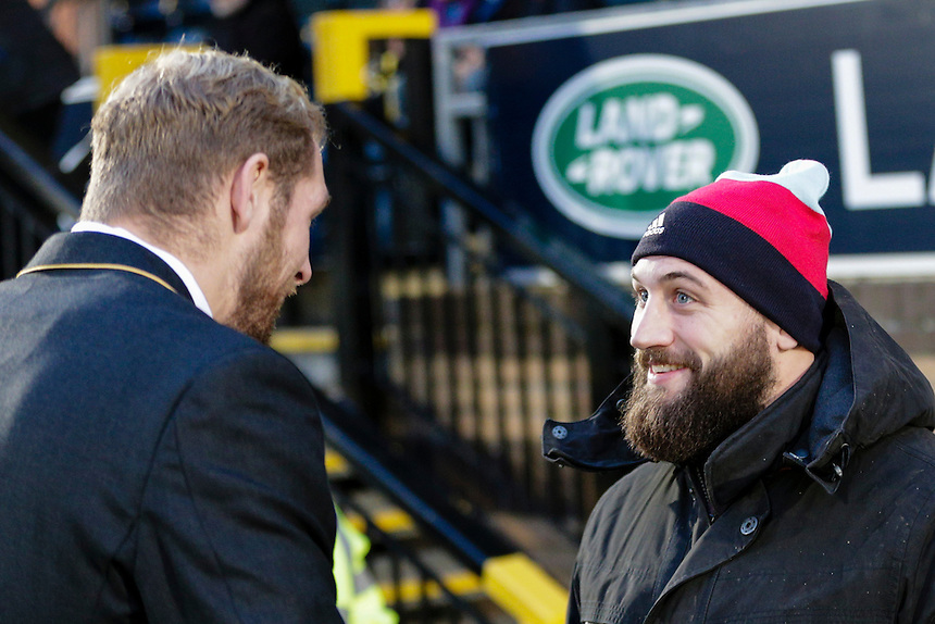 Absent captains (both out due to injury), Joe Marler (right) of Harlequins &amp; James Haskell (left) of Wasps chat before kick-off<br /> <br /> Photographer Craig Mercer/CameraSport<br /> <br /> Rugby Union - European Rugby Champions Cup - Pool 2 - Wasps v Harlequins - Sunday 26th October 2014 - Adams Park - High Wycombe, Buckinghamshire<br /> <br /> &copy; CameraSport - 43 Linden Ave. Countesthorpe. Leicester. England. LE8 5PG - Tel: +44 (0) 116 277 4147 - admin@camerasport.com - www.camerasport.com
