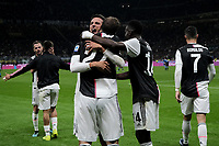 Gonzalo Higuain of Juventus celebrates after scoring the goal of 1-2 for his side with team mates Miralem Pjanic, Paulo Dybala, Rodrigo Bentancur, Blaise Matuidi and Cristiano Ronaldo <br /> Milano 6-10-2019 Stadio Giuseppe Meazza <br /> Football Serie A 2019/2020 <br /> FC Internazionale - Juventus FC <br /> Photo Federico Tardito / Insidefoto